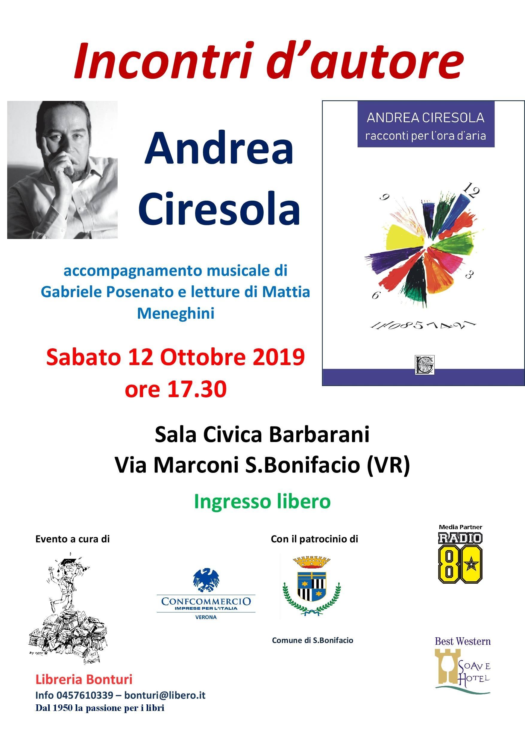 Presentazione a San Bonifacio del libro         RACCONTI PER L'ORA D'ARIA a San Bonifacio               a cura di Paolo Ambrosini,                                              titolare della Libreria Bonturi.                                    Ingresso libero, siete tutti invitati.