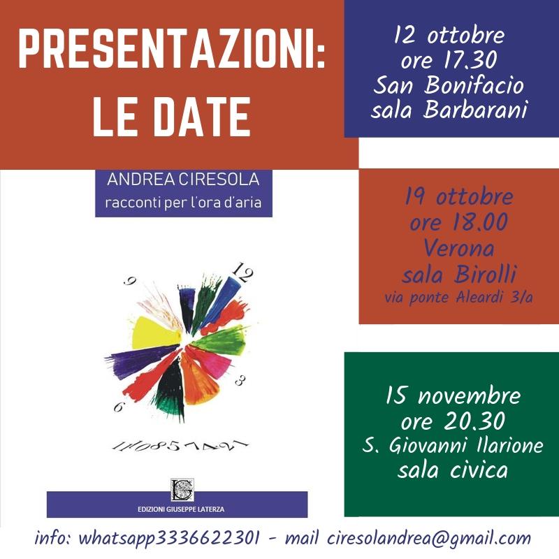 Ecco le date delle prossime serate di presentazione del libro RACCONTI PER L'ORA D'ARIA. Serate di musica, letture e dialogo con l'autore.
